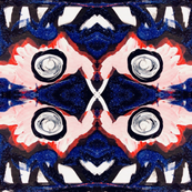 Black blue red and white, organic forms