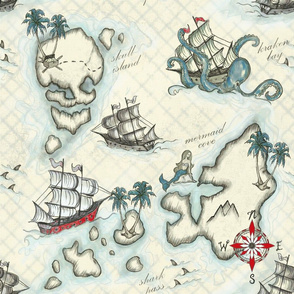 Pirate Journey to Skull Island Red and Blue//Kim Marshall