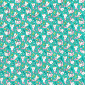 Purrmaids Cats Mermaids  Sea Doodle on Teal  Green Tiny Small 0,75 inch