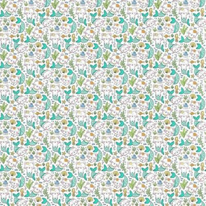 Purrmaids Cats Mermaids  Sea Doodle Mint on White Tiny Small 0,75 inch