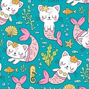 Purrmaids Cats Mermaids  Sea Doodle on Dark Aqua Blue