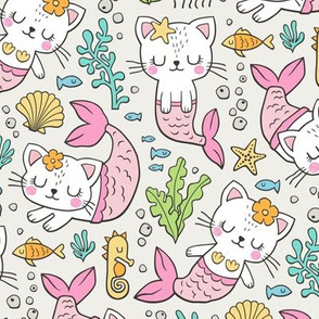Purrmaids Cats Mermaids  Sea Doodle on Cloud Grey