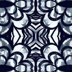 Black and white linear flower repeat pattern