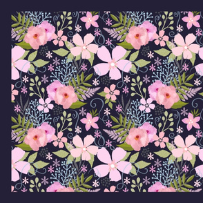 Secret Garden Pink and Blue  Floral Pattern