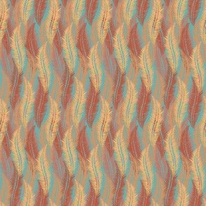 Feather Pattern Coral, Turquoise & Gold