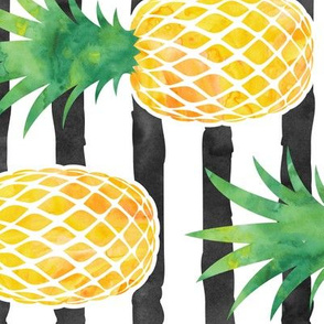 (jumbo scale) pineapples - watercolor on black stripes C19BS