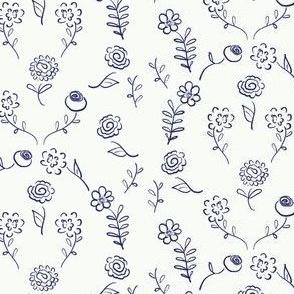 Floral Navette - navy on white