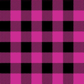 "1"" fuchsia and black buffalo plaid - pink and black plaid, pink plaid, pink tartan, tartan, buffalo check - girls plaid - pink and black"