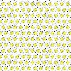 TINY - softball fabric - yellow softball fabric, softballs fabric, girls fabric, sports fabric, sports ball, sports -  white