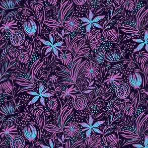 Fleurs turquoise et violet