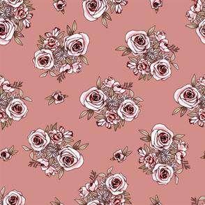 Rose Gold Flower Pattern Pink Flowers