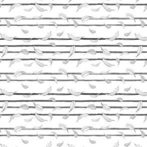 Take Flight Feather Stripe Black and White  Dainty