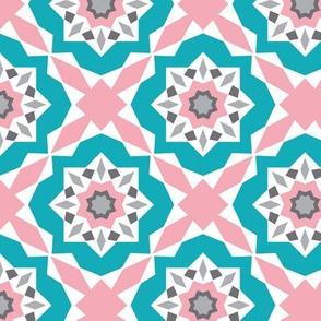 Mattonelle - Moroccan Geometric - Pink & Aqua