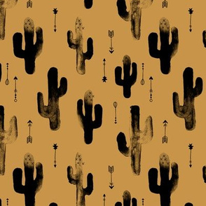 Watercolors ink cactus garden gender neutral geometric arrows cowboy theme autumn mustard yellow