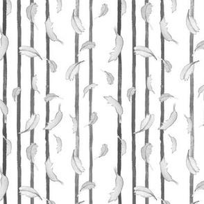 Take Flight Feather Stripe BW vertical