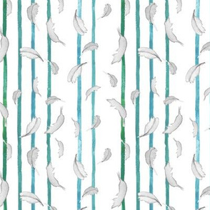 Take Flight Feather Stripe in Teal vertical