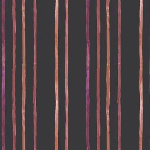 Take Flight Watercolor Stripe Raspberry on Charcoal Vertical