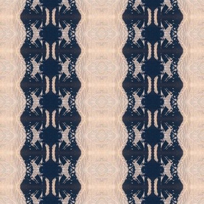 Creams and dark blues star lace pattern