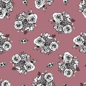 Mauve Flower Pattern White Flowers