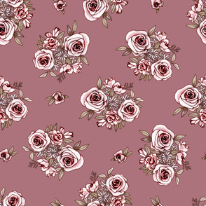 Mauve Flower Pattern Pink Flowers