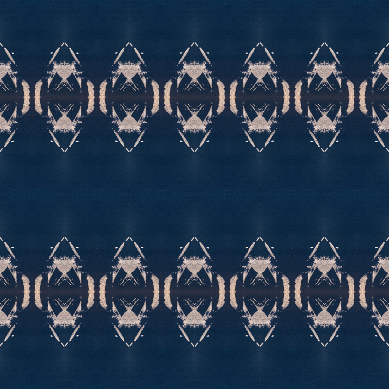 Triangles and little stars, textured light on dark blue wallpaper