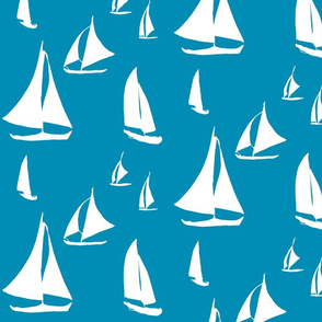 Gliding Sailboats, Minimal Seascape, White on Ocean Blue