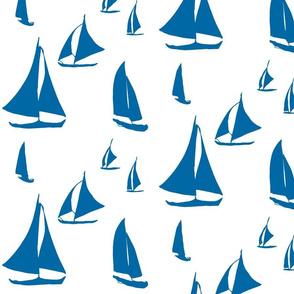 Gliding Sailboats, Minimal Seascape, Navy on White