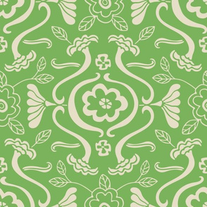 Floral Ogee Line Green Cream