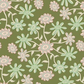 Floral Botanical Earthy Green Pink