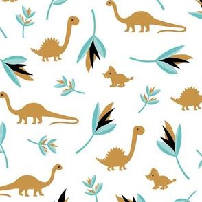 Little Dino jungle birds of paradise flowers and leaves summer ochre blue boys