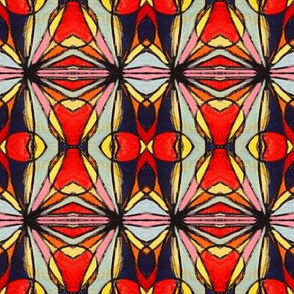 Funky shapes, red triangles, red circles