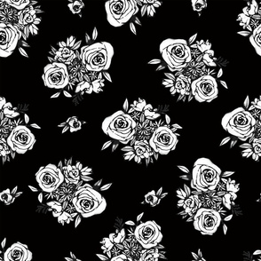 Black Flower Pattern White Flowers