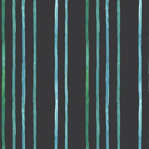 Take Flight Watercolor Stripes in Teal on Charcoal vertical