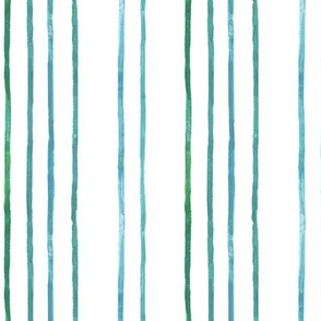 Take Flight Watercolor Stripes in Teal on White vertical