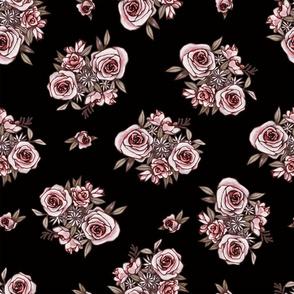 Black Flower Pattern Pink Flowers