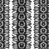 Sunflower repeating emblem, black ad white, repeating vertical