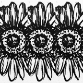 Black and white Sunflower repeating emblem, large