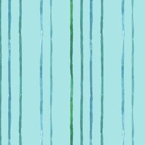 Take Flight Watercolor Stripes in Teal on blue vertical