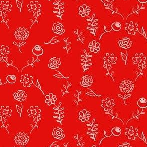 Floral Navettes - White On Red