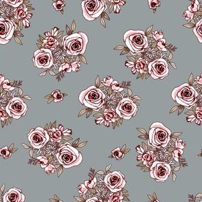 Grey Blue Fower Pattern Pink Flowers