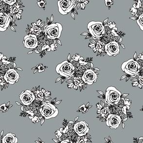 Grey Blue Flower Pattern White Flowers