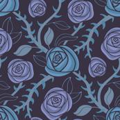 Fantasy Floral Rose Thorns Dark Blue Purple Black