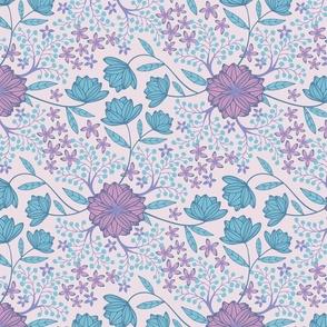 Fantasy Floral Botanical Purple Blue Pink