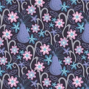 Fantasy Fruit Pear Floral Botanical Pink Purple Blue Dark