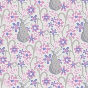 Fantasy Fruit Pear Floral Botanical Pink Purple Grey Light Background