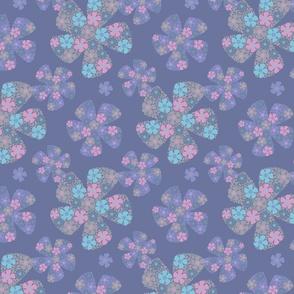 Fantasy Floral Ditsy Purple Blue Gray Pink