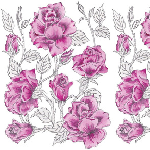 Wild Roses Flowers -Col 1 Pattern