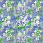 Blue Green Pink Maples Ferns Cosmos Square