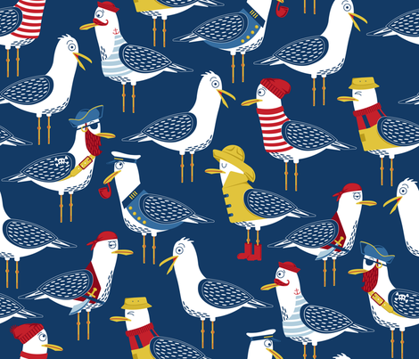 Seagull Surprise! fabric by nanshizzle on Spoonflower - custom fabric