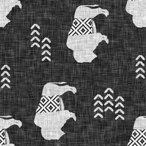 buffalo aztec on dark grey linen (90) C19BS
